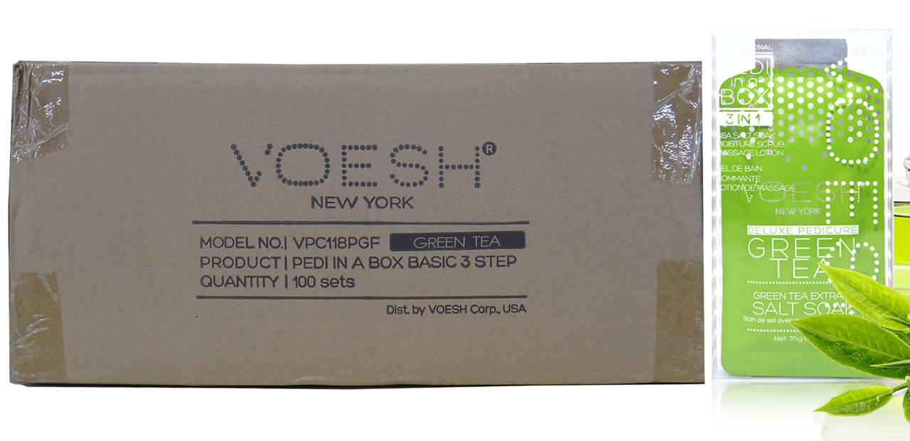 Voesh Case/100pcs, Pedi in a Box (3 steps - Green Tea