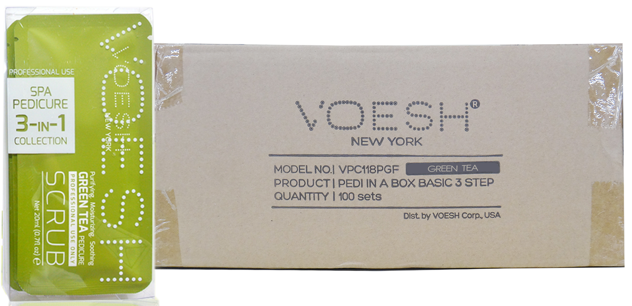 Voesh Case/100pcs, Pedi in a Box (Waterless 3 steps - Green Tea
