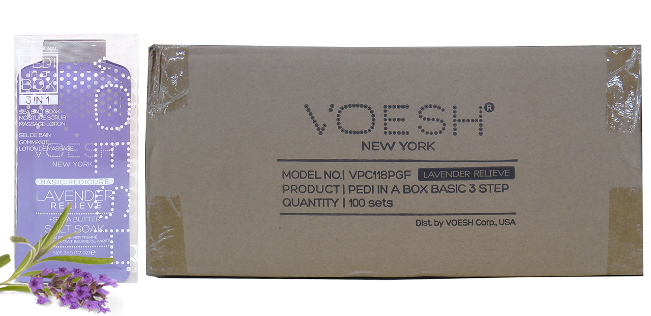 Voesh Case/100pcs, Pedi in a Box (3 steps - Lavender Relieve