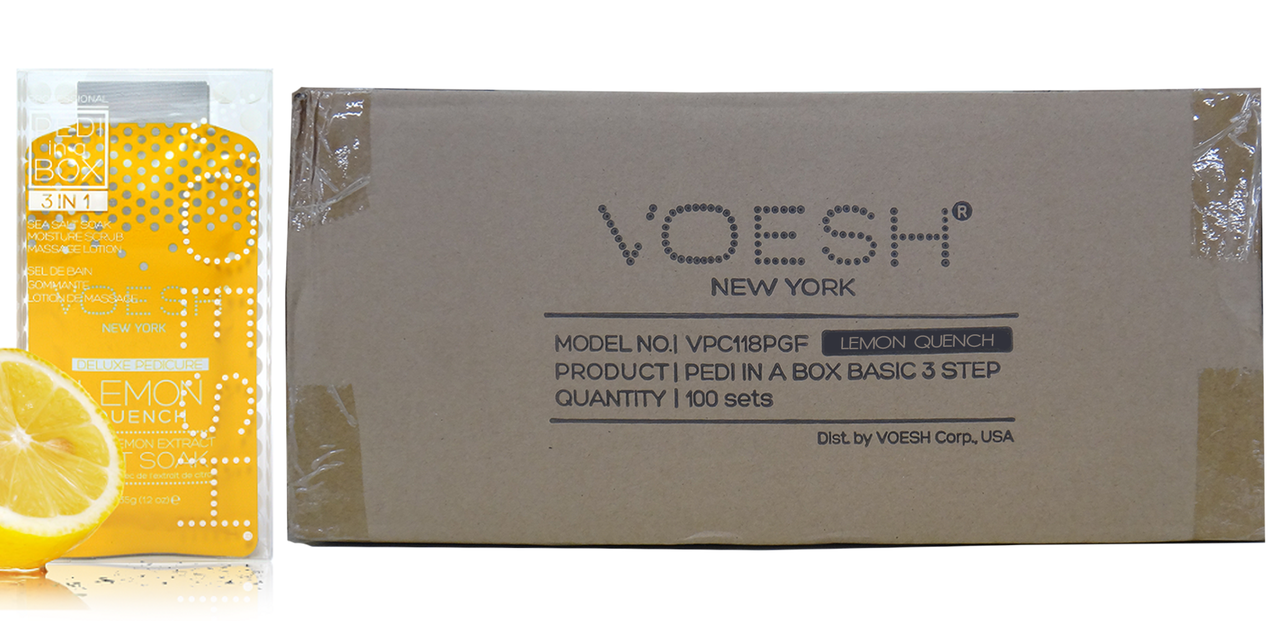 Voesh Case/100pcs, Pedi in a Box (3 steps - Lemond Quench