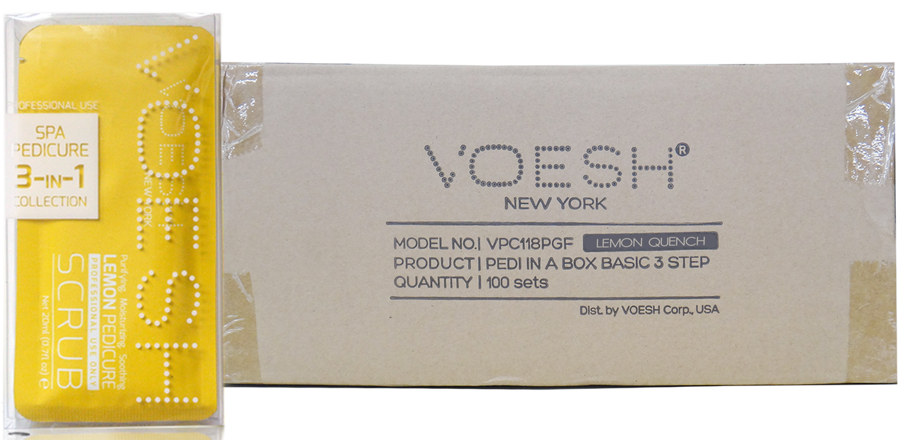 Voesh Case/100pcs, Pedi in a Box (Waterless 3 steps - Lemon Quench