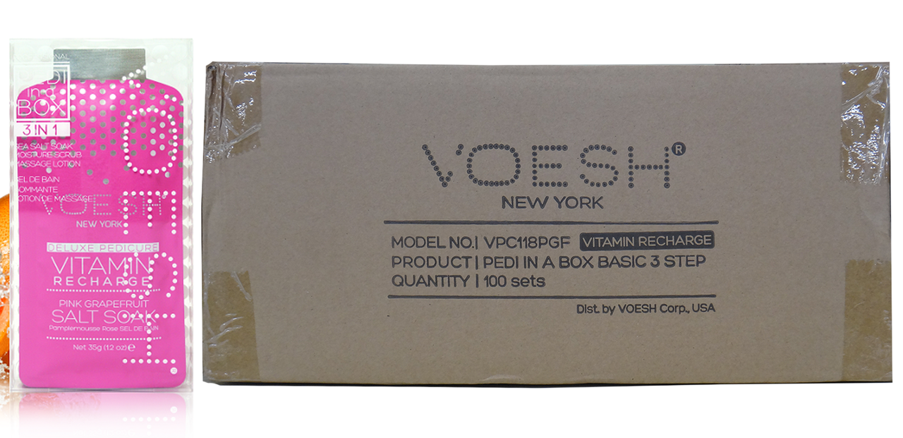 Voesh Case/100pcs, Pedi in a Box (3 steps - Vitamin Recharge