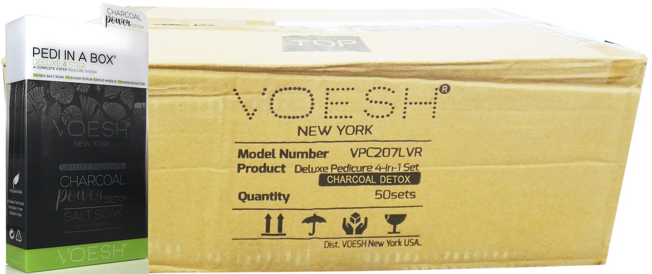 Voesh Case/50pcs, Pedi in a Box (4 steps - Charcoal Detox