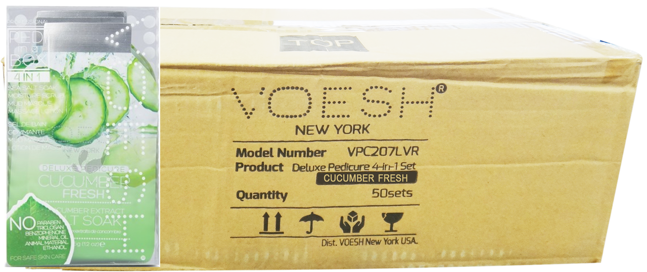 Voesh Case/50pcs, Pedi in a Box (4 steps - Cucumber Fresh