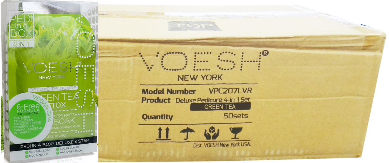Voesh Case/50pcs, Pedi in a Box (4 steps - Green Tea