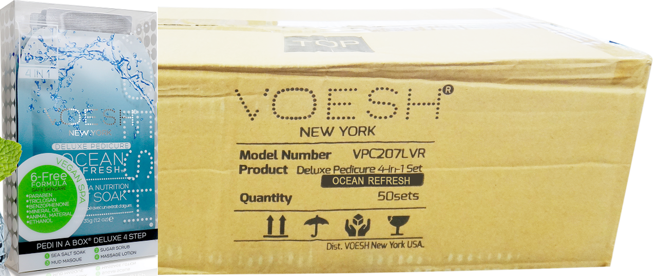 Voesh Case/50pcs, Pedi in a Box (4 steps - Ocean Refresh
