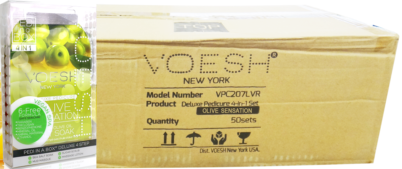 Voesh Case/50pcs, Pedi in a Box (4 steps - Olive Sensation