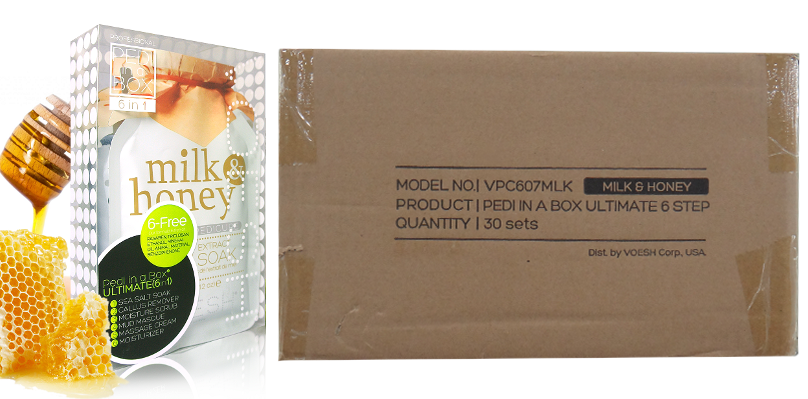 Voesh Case/50pcs, Pedi in a Box (6 steps - Milk & Honey