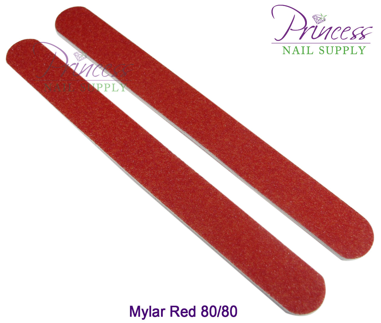 Princess Nail Files, 50 per pack - Mylar Red, Grit: 80/80(#10330