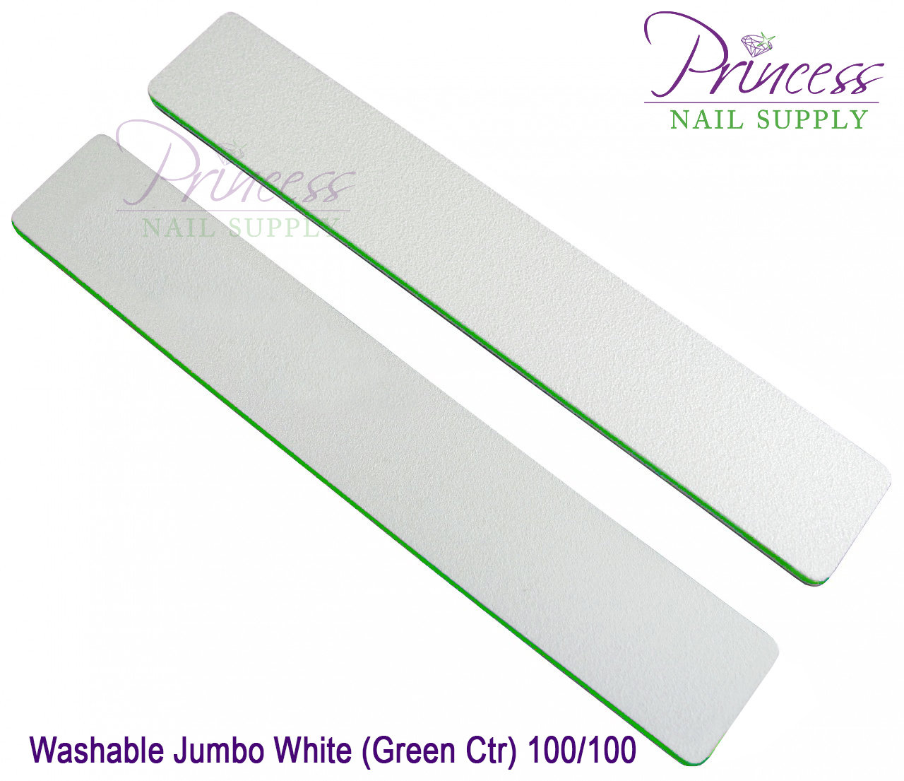 Princess Nail Files, 50 per pack - Washable Jumbo White/Green, Grit: #20104