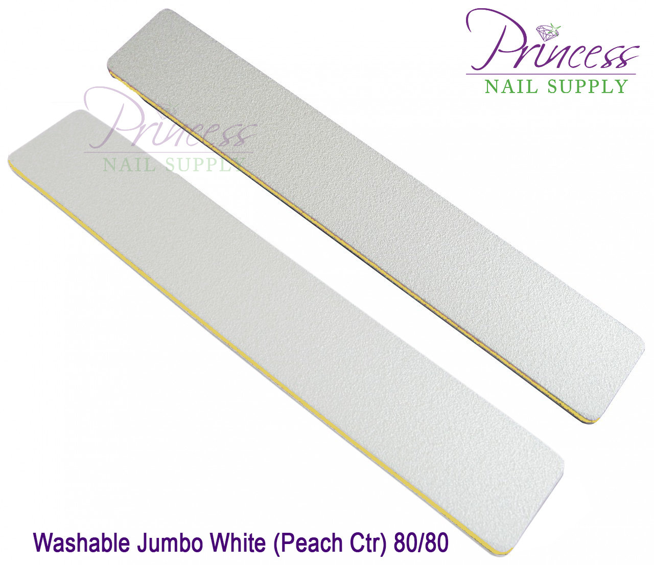 Princess Nail Files, 50 per pack - Washable Jumbo White/Peach, Grit: 80/80(#20499