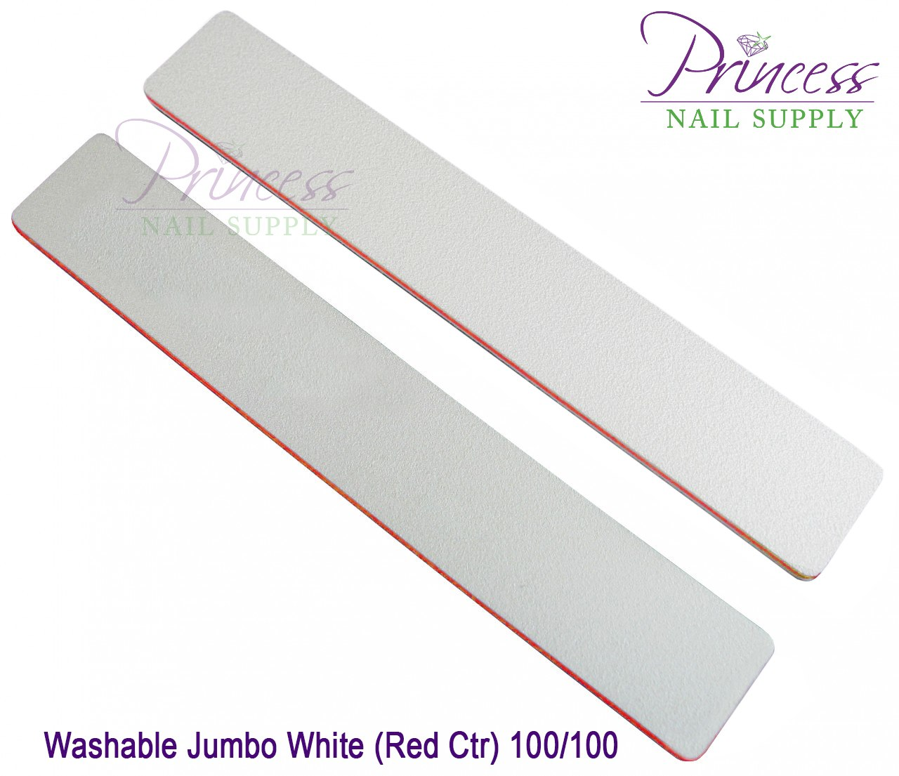 Princess Nail Files, 50 per pack - Washable Jumbo White/Red, Grit: #20105