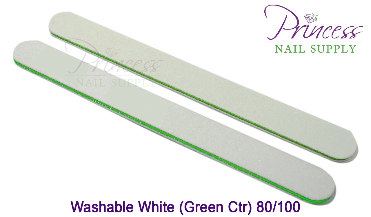 Princess Nail Files, 50 per pack - Washable White/Green, Grit: #20095