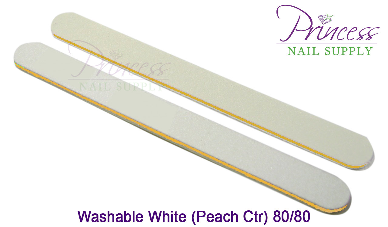 Princess Nail Files, 50 per pack - Washable White/Peach, Grit: 80/80(#20490