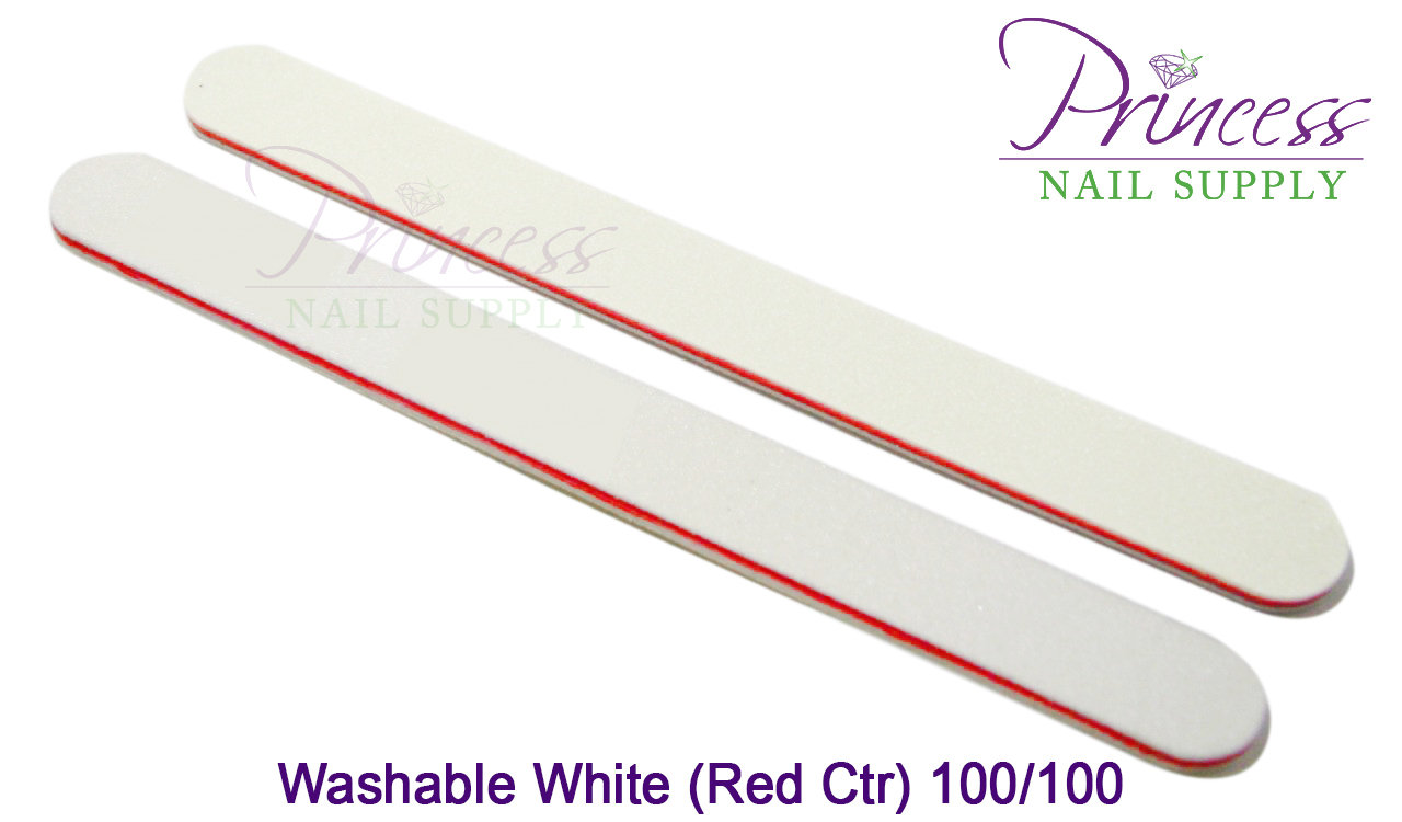 Nail Files, 50 per pack - Washable White/Red, Grit: #20097