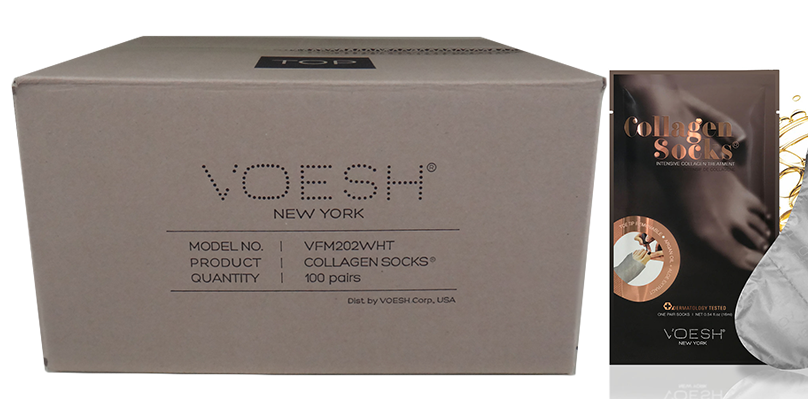 Voesh Collagen with Argan Oil + Aloe Extract, Sock Case/100 pairs